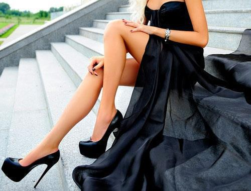 black, cool, dress, heels, high heels