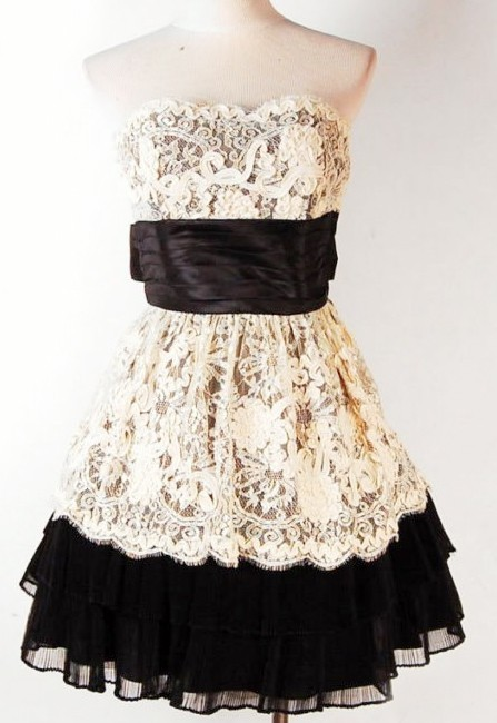 black, cute, dress, fancy, fashion, lace, white