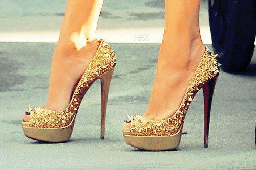 black, cute, glitter, gold, heel