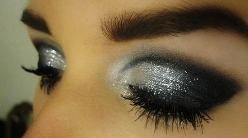 black, eye, eye makeup, eyes, glitter, make up, makeup, silver, tutorial, vibrant colors