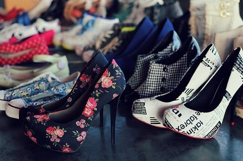 black, fashion, floral, heels, shoes