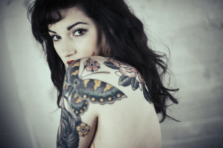 black hair, butterfly, butterfly tattoo, cte, eye