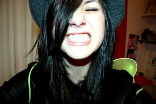 black hair, cute, girl, nose ring