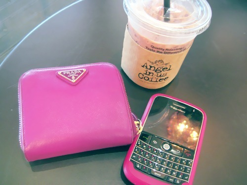 blackberry, coffee, drink, pink, prada, wallet