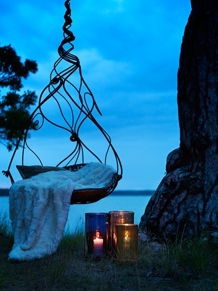 blanket, calm, candles, chair, night, photography, sky, tree