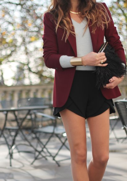 blazer, burgundy, business, business fashion, cuff, cute, fashion, formal, girl, legs, park, shorts, street fashion, street style