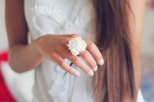 bling, bow, fashion, flower ring, gold, hand, nails, pretty, ring, style