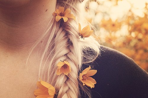 blond, blonde, flowers, girl, hair