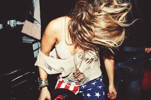 blond, blouse, bracelet, crazy, dance, fashion, flag, girl, hair, photography, shorts, sweater, trousers, young