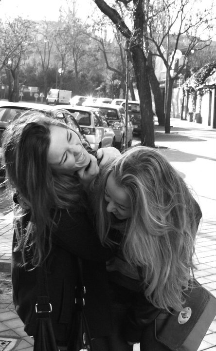 blond, brunette, cute, fashion, forever, friends, girl, hug, laugh, madrid, smile, street, together