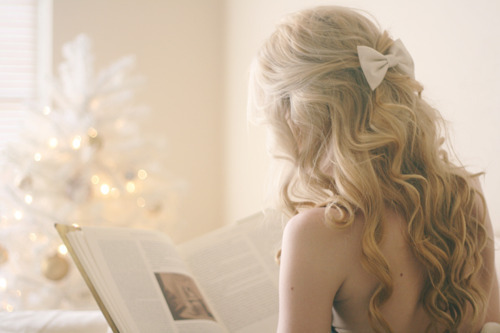 blonde, book, bow, girl