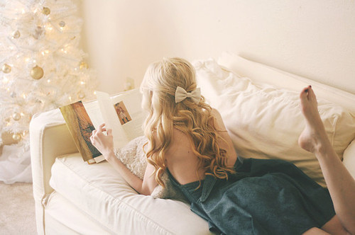blonde, book, bright, christmas tree, couch, curly hair, cute, dress, girl, photography, reading, ribbon, white
