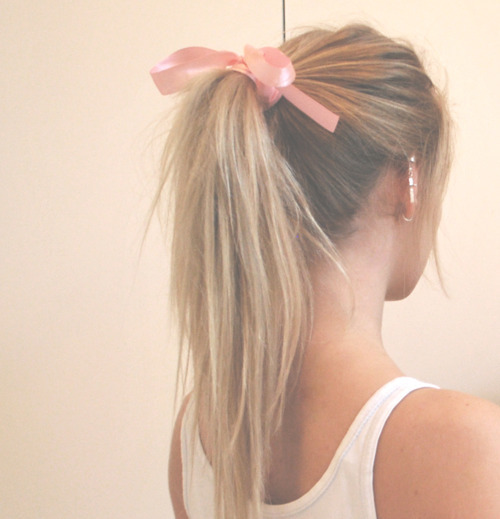 blonde, bow, fashion, girl, hair, pink, pink ribbon, pretty