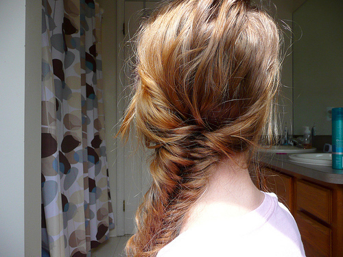 blonde, braid, casual, cute, fishtail, hair, messy, tyle