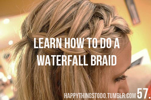 blonde, braid, girl, hair, happythingstodo, pretty, waterfall, waterfall braid