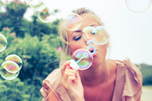 blonde, bubbles, girl, love, summer