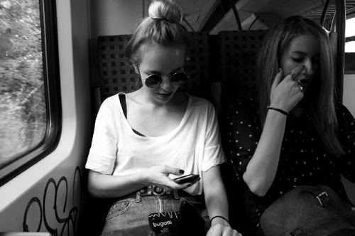 blonde, bun, friend, girls , train