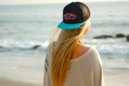 blonde, cap, girl, hat, summer