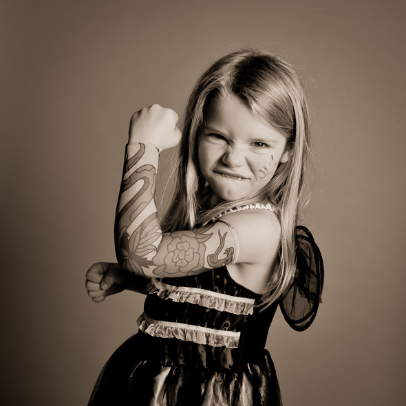 blonde, child, cute, dress, face paint, fairy, funny, girl, little girl, photo, photograph, princess, satin, sepia, tattoo, wings