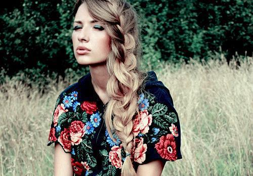 blonde, fashion, fishtail, flower, girl