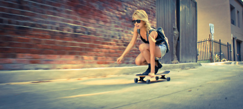 blonde, girl, skatebord, swag