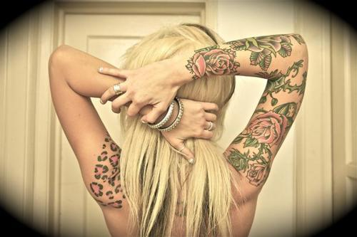 blonde, girl, tattoo
