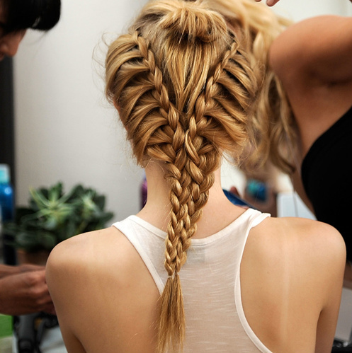 blonde, hair, plait, pretty