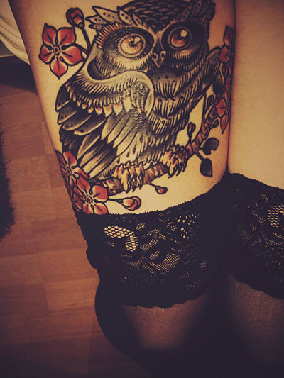 blossom, branch, flowers, ink, lace, owl, tattoo, thights
