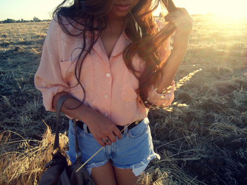 blouse, brunette, fashion, field, girl, light, shorts, summer, sun, sunset