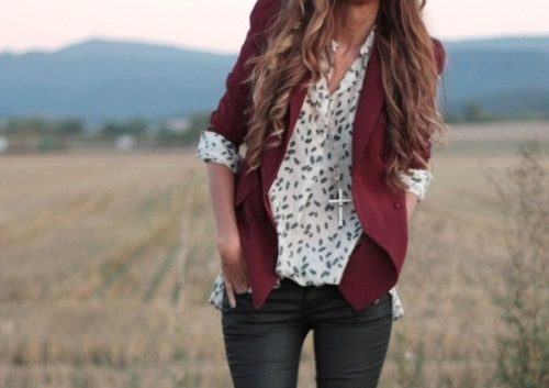blouse, cross, fashion, field, girl, jacket, lookbook, pretty, red