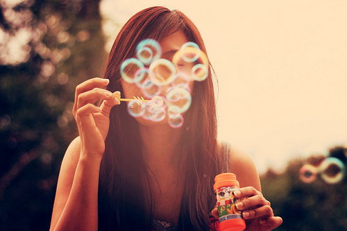 blow, brunette, bubbles, girl, summer