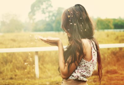 blow, clouds, dream, fence, field, flowers, girl, hair, photography, pretty, sky, trees, wind, wish