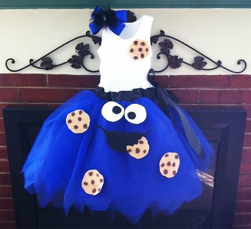 blue, blue dress, cookie, cookie monster, cookie monster dress