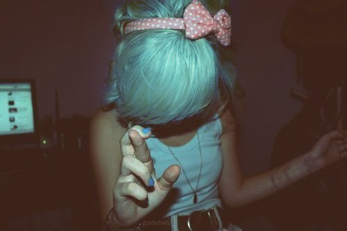 blue, blue hair, blue nails, bow, cool