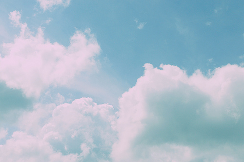 blue, blue sky, clouds, day, fluffy, light, photography, sky, vintage, white