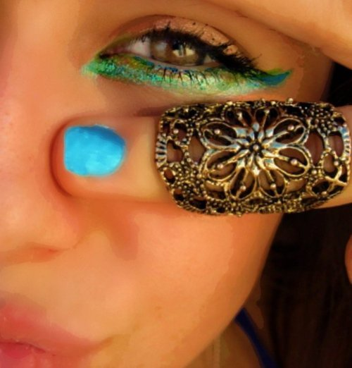 blue, bohemian, boho, brown, eye, eyes, face, girl, green, hazel, make up, mascara, nails, pretty, ring, silver, turquoise