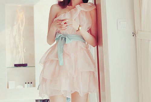blue, bow, cute, dress, fashion