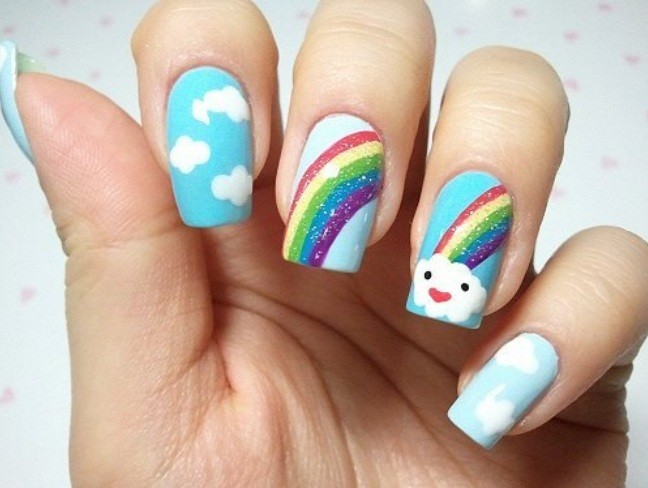 blue, brocade, cloud, cloudlet, colorful, colors, cute, fashion, fingernails, girly, glossy, manicure, nail art, nail painting, nail polish, nailart, nails, nails fashion, nails style, pattern, pretty, rainbow, style