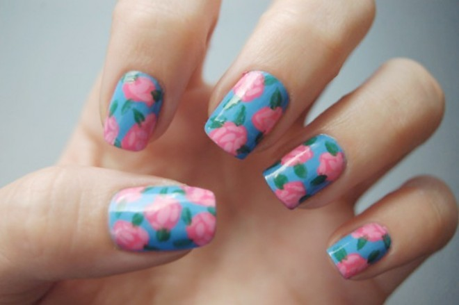 blue, brocade, colorful, colors, cute, fashion, fingernails, flowers, garden, girly, glossy, manicure, nail art, nail painting, nail polish, nailart, nails, nails fashion, nails style, pattern, pink, pretty, roses, style