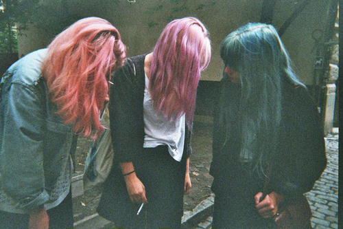 blue, cigarette, film, friends, girls, grain, hair, pink, purple