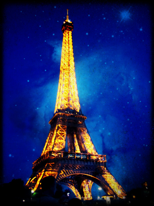 blue, city, eiffel, europe, france, lights, love, night, outside, paris, pretty, sky, sunset, tower, travel