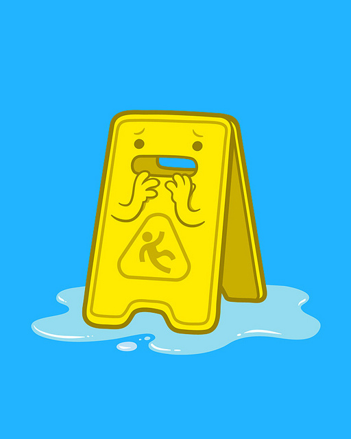 blue, cleanup, cute, drawing, illustration, oops, sign, slippery, spacesick, spill, uh-oh, wet, yellow