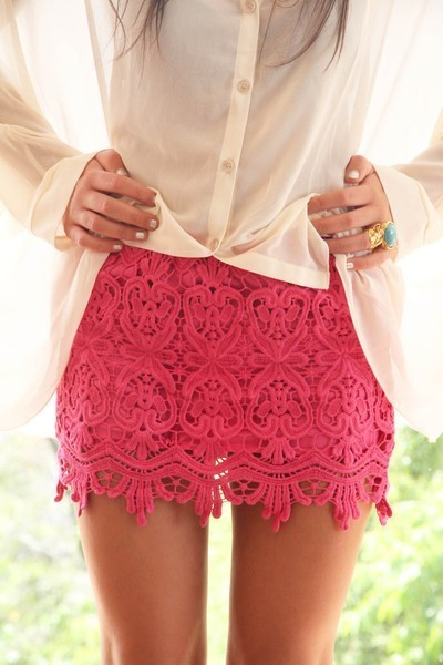 blue, clothes, girl, lace, nails, pink, ring, rings, shirt, skirt, tan, white