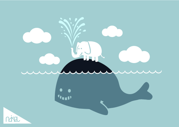 blue, cloud, cute, elephant, happy, whale