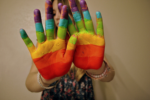 blue, colorful, colors, gree, hand, hands, orange, photography, purple, rainbow, red, yellow