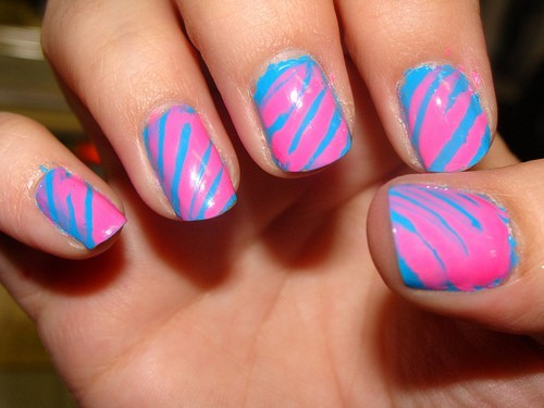 blue, cosmetics, cotton candy, nails, pink, polish