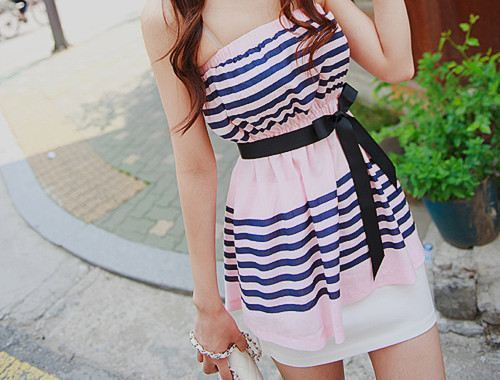 blue, cute, dress, fashion, girly, striped