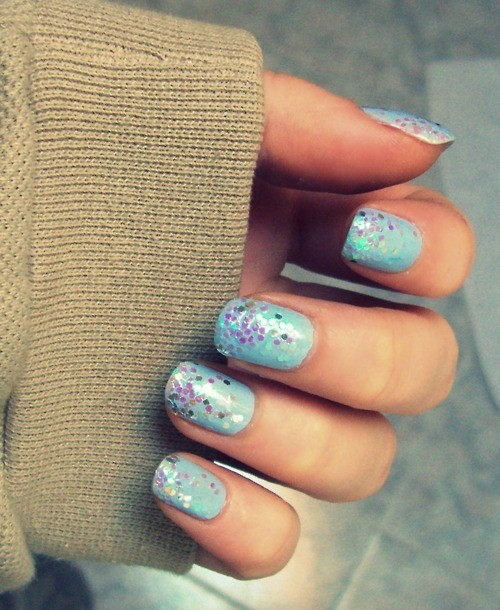 blue, cute, glitter, hands, nail polish