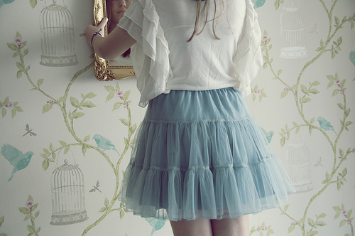 blue, fashion, girl, mirror, skirt