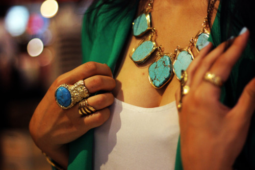 blue, fashion, gold, green blazer, jewelry